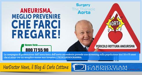 300.000 gli italiani colpiti da Aneurisma dell'Aorta Ascendente