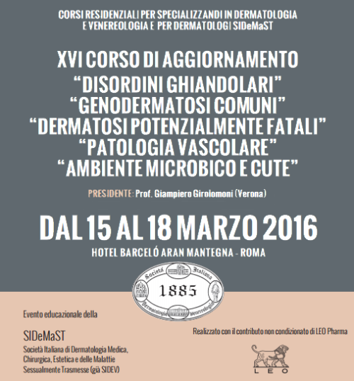 Corso di Aggiornamento 2016 dedicato da SIDeMaST ai dermatologi specializzandi