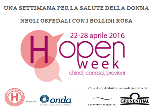 "Salute in ""rosa"": dal 22 al 28 aprile (H)Open Week. Porte aperte alle donne in oltre 170 ospedali con i Bollini Rosa"