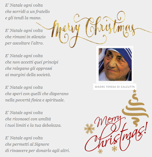 Frasi Madre Teresa Natale.Auguri Di Buon Natale Da Hardoctor