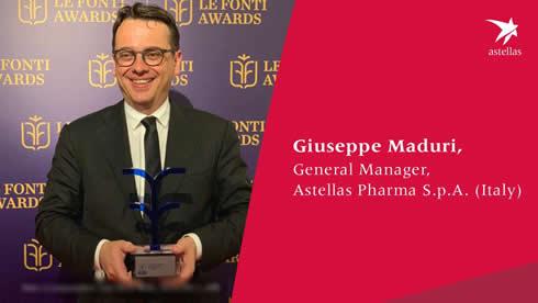 Giuseppe Maduri di Astellas Pharma premiato come CEO dell'anno per il settore pharma a Le Fonti Awards