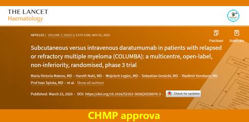 Parere positivo di CHMP per la formulazione sottocutanea di DARATUMUMAB per il trattamento di pazienti con MIELOMA MULTIPLO